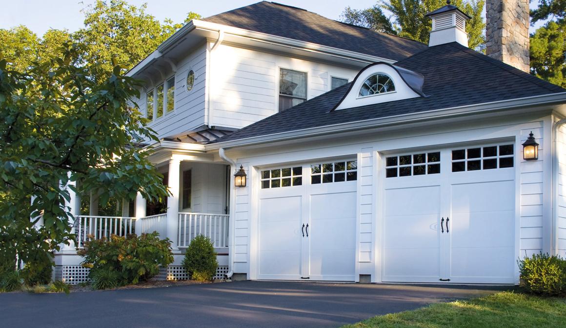 Home with White Garage Door